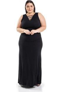Vestido Longo Malha De Viscose Decote Com Tiras Miss Masy Plus Size Feminino - Feminino
