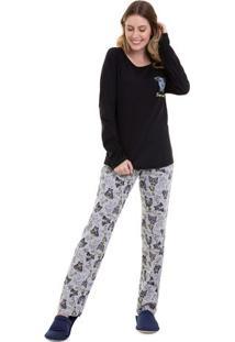 Pijama De Inverno Super Inteligente Feminino Adulto Luna Cuore