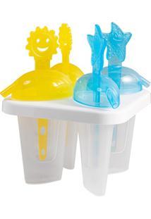 Forma Para Picolé Snips Com 4 Peças Amarela E Azul