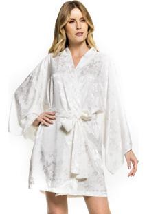 Robe Inspirate De Cetim Floral Off White