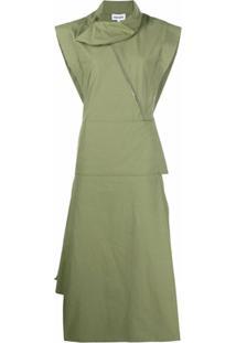 Kenzo Vestido Evasê Com Detalhe De Babados - Verde