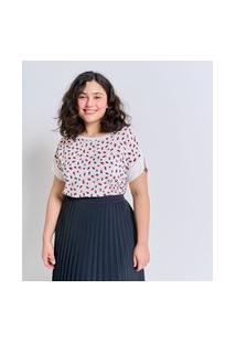 Blusa Manga Curta Mix De Tecidos Estampada Curve & Plus Size | Ashua Curve E Plus Size | Branco | Gg