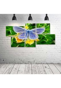 Quadro Decorativo - Butterfly-Neon - Composto De 5 Quadros