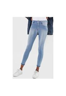 Calça Cropped Jeans Biotipo Skinny Estonada Azul