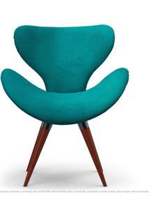 Poltrona Decorativa Cadeira Egg Azul Turquesa Com Base Fixa De Madeira
