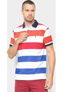 Camisa Polo Aleatory Estampa Listrada Masculina - Masculino-Laranja+Branco