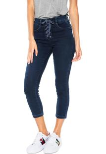 Calça Jeans Hering Skinny Cropped Amarração Azul-Marinho