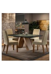 Conjunto Sala De Jantar Madesa Erica Mesa Tampo De Vidro Com 4 Cadeiras Marrom