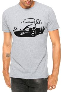 Camiseta Criativa Urbana Carro Antigo Clássico Fusca Manga Curta - Masculino-Cinza