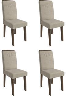 Conjunto Com 4 Cadeiras De Jantar Taís I Suede Marrocos E Bege