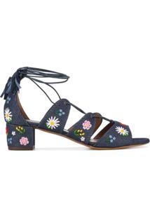 Tabitha Simmons Sandália Jeans Com Bordado - Azul