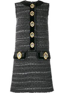 Dolce & Gabbana Knitted Queen-Buttons Dress - Cinza