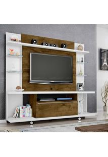 Estante Home Theater Para Tv Até 55 Polegadas 1 Porta New Torino Branco/Madeira Rústica - Móveis Bechara