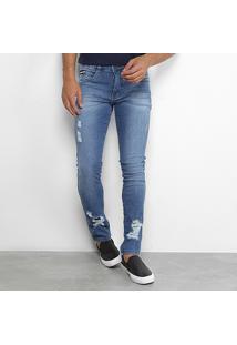 Calça Jeans Skinny Biotipo Com Puídos Masculina - Masculino