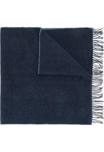 Agnès B. Cachecol Vincent De Lã Com Logo - Azul