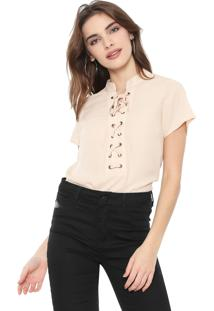 Blusa Facinelli By Mooncity Lace Up Bege