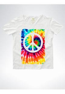 Camiseta Feminina Ampla Cool Tees Tie Dye Simbolo Da Paz Mescla