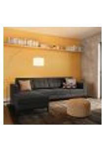Sofá 4 Lugares Life Com Chaise Esquerdo Pés E Base Em Madeira Linho Cotton Grafite