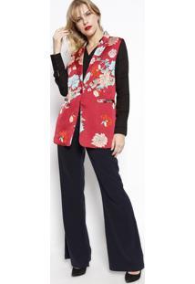 Colete Floral Com Bolsos- Vermelho & Azul Claro- Sussusan Zheng