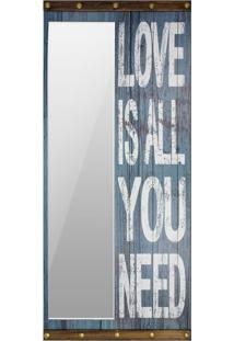 Espelho Decorativo Love Is All You Need 200X90X8 Oldway