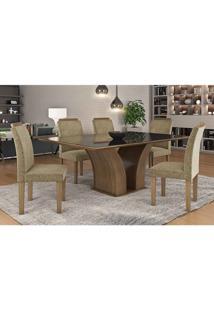Conjunto Mesa Leblom 180X90 Mdf Com Vidro Preto E 6 Cadeiras Píetra Castanho/Pena Caramelo Lj