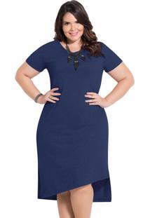 Vestido Assimétrico Marinho Plus Size