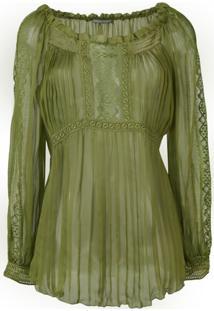 Alberta Ferretti Blusa Translúcida - Verde
