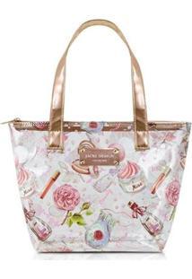 Bolsa Pequena Jacki Design De Pvc - Feminino-Dourado