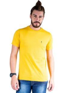 Camiseta Mister Fish Gola Careca Basic Top Hat Masculina - Masculino-Mostarda