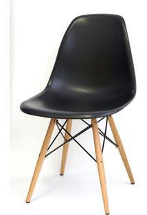 Cadeira Eames Polipropileno Preto Fosco Madeira