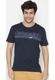 Camiseta Com Logo- Azul Marinho & Brancawrangler