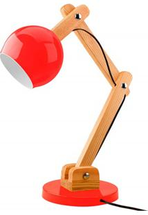 Luminária De Mesa Para 1 Lâmpada Bivolt Bola Vermelha