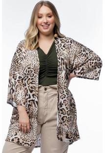 Kimono Plus Size Estampado Onça Amplo