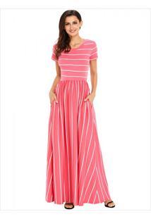 Vestido Longo Listrado Com Bolso Manga Curta - Rosa P