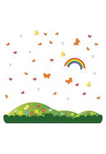 Adesivo De Parede Quartinhos Montanha E Flores Colorido