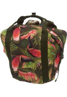 Bolsa Maxi Tucanos- Verde Escuro & Rosa Claro- 43X53Farm