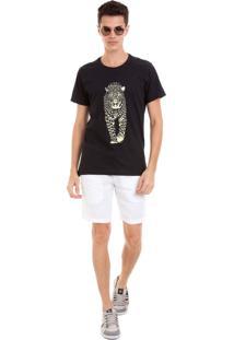 Camiseta Masculina Joss Onça Branco Preto
