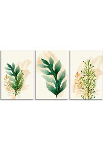 Quadro Oppen House 60X120Cm Folhagem Verde E Laranja Canvas Decoração