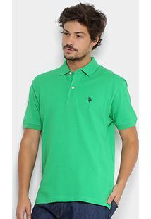Camisa Polo U.S. Polo Assn Piquet Bordado Masculina - Masculino-Verde Claro