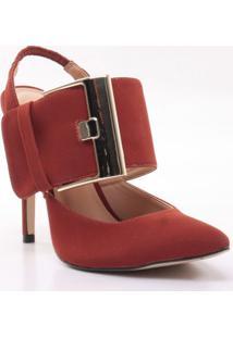 Sapato Chanel Com Fivela - Laranja Escuro - Salto: 1Cecconello