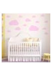 Adesivo De Parede Infantil Nuvens Rosa