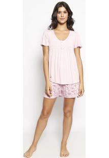 Pijama Com Franzido - Rosa Claro & Rosamalwee
