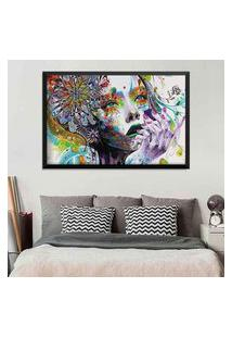 Quadro Love Decor Com Moldura Abstract Face Preto Médio