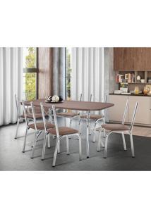 Conjunto De Mesa De Cozinha 6 Cadeiras Italia Couro Sintético Marrom