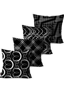 Kit Com 4 Capas Para Almofadas Pump Up Decorativas Preto E Branco Formas Geométricas 45X45Cm
