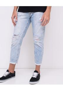Calça Cropped Em Jeans Destroyed