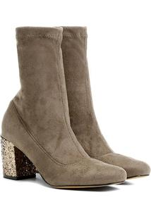 Bota Shoestock Média Glitter - Feminino-Cinza