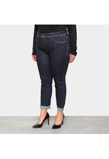 Calça Jeans Sawary Plus Size Barra Dobrada Feminina - Feminino-Azul