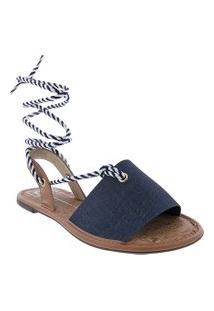 Sandália Moleca Tecido Jeans Azul