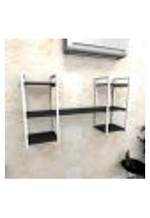Estante Industrial Escritório Aço Cor Branco 120X30X68Cm (C)X(L)X(A) Cor Mdf Preto Modelo Ind27Pes